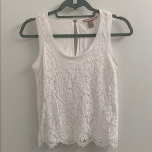 Perfect white lace blouse/tank - Banana Republic